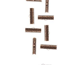 150pcs.  25mm  (1 inch)  Antique Copper Ribbon Clamp End Crimps - Artisan Series