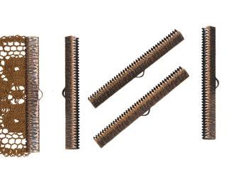 16pcs.  50mm  (2 inch)  Antique Copper Ribbon Clamp End Crimps - Artisan Series