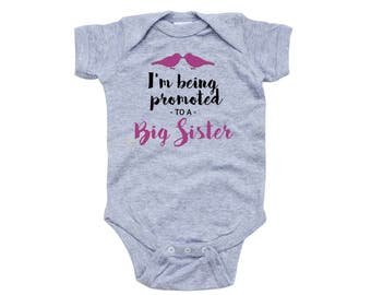 Promoted to Big Sister Announce Announcement Baby Cute Design New Infant Newborn 6 12 18 Months Girl's 100% Cotton One Piece Body Suit