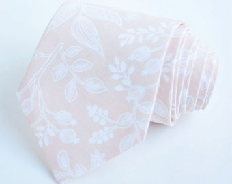 Necktie, Neckties, Mens Necktie, Neck Tie, Floral Neckties, Groomsmen Necktie, Ties, Rifle Paper Co - Queen Ann In Peach