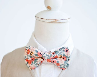 Bow Tie, Bow Ties, Boys Bow Ties, Baby Bow Ties, Bowtie, Bowties, Ring Bearer, Wedding Bow Ties, Rifle Paper Co - PRE-ORDER Rosa In Peach