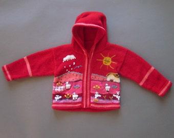 Red Alpaca Child Sweater 3-4 Toddler Vintage Children's Clothing