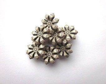 Vintage Silver Metal Floral Button Lot