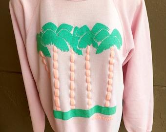 Florida 1980s pastel palms vintage sweatshirt - pink size medium