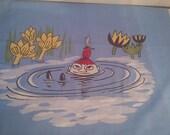 Pillow case Little My Moomin cotton fabric  light blue boat sea Finlayson
