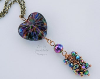 Rainbow Heart pendant, glass heart necklace, iridescent crystal necklace, lampwork glass heart, rainbow heart necklace, sparkly, rainbows