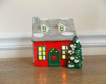Vintage Village House, Ceramic House, Lighted Ceramic House, Christmas Village House, Light Up Christmas House, Electric House, Cottage