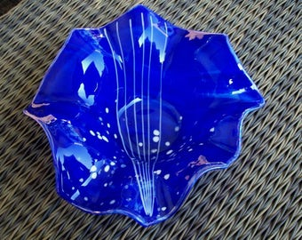 Cobalt Blue Fused Glass Bowl, Abstract Art Style Fused Glass Blowl, , Unique Glass Art, Hostess Gift