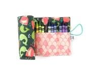 Crayon Roll - Mermaid - flower crayon holder, toddler gift, girls gift, preschool coloring, kids journaling