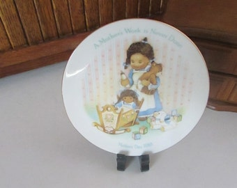 A Mother's Work is Never Done – 1988 Mother's Day Plate – Little Girl with Doll & Teddy Bear Babies - Vintage Avon Miniature Collector Plate