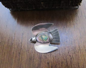Abalone & Sterling Bird Pin  - Sterling Silver with Abalone Inlay Vintage Brooch - Vintage Mexican 925 Silver Jewelry