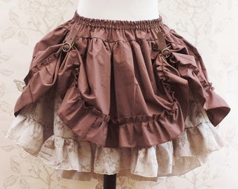 Brown black steampunk skirt,steampunk skirt ,bustle skirt ,embroidered skirt, steampunk clothing, pirate, saloon, western skirt, country