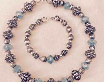 American Girl Sized Choker Necklace with Blue Crystals and Antiqued Silver Beads