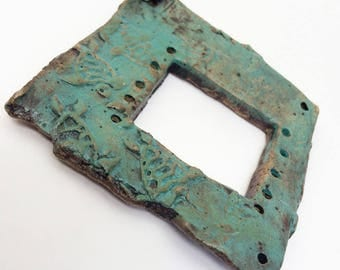 Pottery for Weaving Window rectangular loom style, Sea Turtles, Blue Green