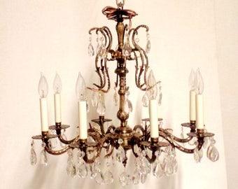Spanish Brass Crystal Chandelier, Crystal Chandelier, Restored Vintage Chandelier