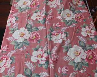 """Barkcloth Fabric 33"""" x 60"""" Curtain Panel Rose Pink Green Mid Century VINTAGE by Plantdreaming"""