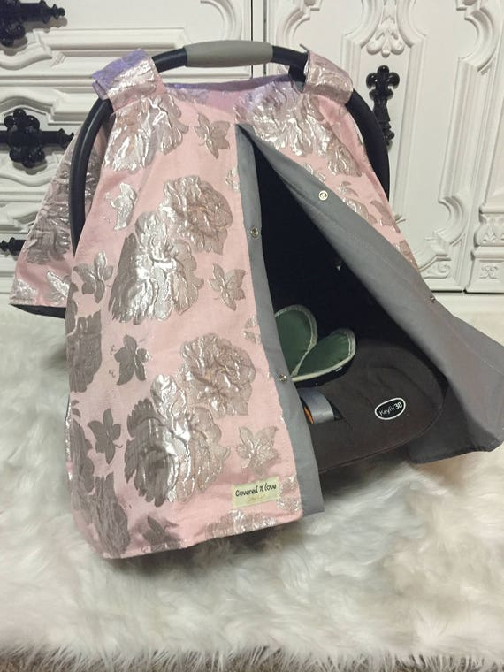Blush and Silver Car seat canopy Baby Girl / Car seat cover / car seat canopy / carseat cover / carseat canopy / nursing cover