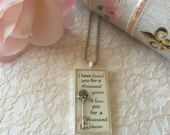 I Have Loved You for a Thousand Years, I Will Love You for a Thousand More by Christina Perri, Breaking DawnTwilight Saga Inspired Necklace