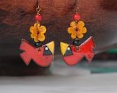 Cardinal Earrings, Red Bird Earrings, Artisan Enamel Earrings, Lampwork Glass Bead Earrings, Yellow Flower Earrings,