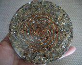 ORGONE Charging Coaster with Reiki Crystal Grid INSIDE  Most Powerful Charging Plate with Lemurian Crystals & Herkimer Diamonds