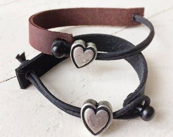Simple modern leather bracelet with silver pewter heart slider bead // edgy rugged leather strap // unisex // original handmade // mens boys