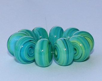 "Handmade Lampwork Beads, 10 Pieces ""Pea-Green and Turquoise on Transparent Aquamarine"", Size about 11.6 to 12.5 mm"