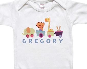 Baby animal train etsy personalized baby gift custom bodysuit toddler shirt tshirt animal train elephant lion negle Images