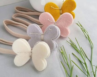 Felt Butterfly Nylon Headband One Size Fits all - Pick Your Color - Ecru - Silver - Blush - Gold