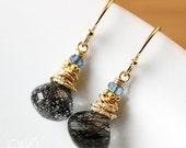 30 OFF SALE Black Rutile Quartz Earrings - Blue Quartz - 14K Gold Filled
