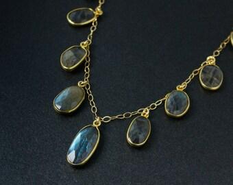 Gold Blue Labradorite Bib Necklace - Labradorite Oval Necklace - Statement Necklace