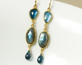 Gold Free Form London Blue Topaz & Blue Labradorite Dangle Earrings - 14Kt Gold Filled