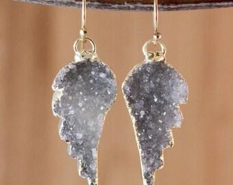 50% OFF Angel Wings Earrings - Smokey Grey Druzy Earrings - 14K Gold Filled, Choose Your Stone
