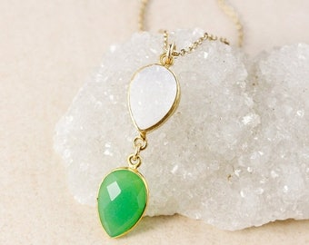 50% OFF Green Chrysoprase Pendant Necklace – White Druzy – 14k Gold Filled