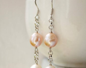 ON SALE White and Pink Freshwater Pearl Earrings - Wire Wrapped - Bridal Earrings, Summer weddings - MARKED Down