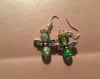 Earrings, dangle, green angel with silver wings and gold rhinestone halo on sterling silver hooks.