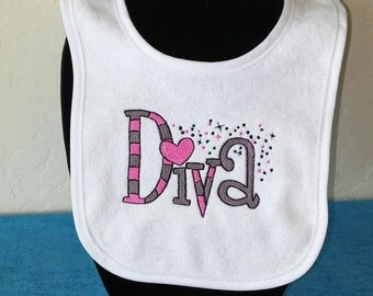 Baby Diva, baby bib, Gift for baby. Baby shower gift. Embroidery. Infant Embroidered baby bib with saying- Diva. Customizable. KBD311