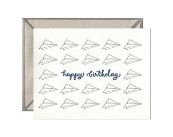 Birthday Planes letterpress card