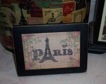 Paris Eiffel Tower block sign,Paris decor,Paris theme,Paris bedroom decor,Paris party decor,French decor,Paris nursery decor
