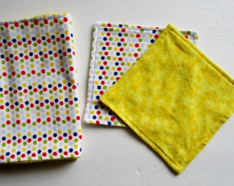Baby Washcloths and Burp Cloth Set, Baby Wipes, Yellow, Baby Shower Gift, Reversible Flannel,  Gender Neutral, Unisex,  2 Ply, Double Sided