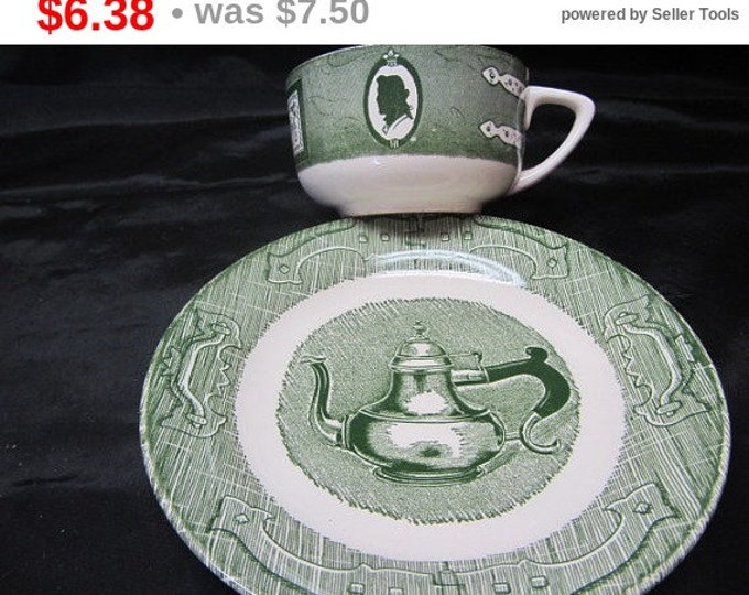 Colonial Homestead-Green Cup and Saucer Set, Farmhouse Cup and Saucer, Homestead Cup and Saucer, Green and White Gift Set, China Cup Saucer