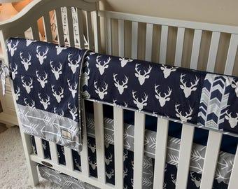 navy deer crib bedding grey arrows crib bedding grey bumperless crib bedding baby