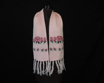 pink roses winter scarf 80s pink knit winter accessory vintage floral long scarf neck warmer