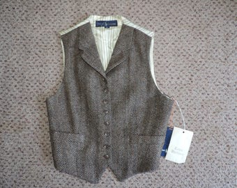 vintage Ralph Lauren tweed vest equestrian wool herringbone Annie Hall style medium new old stock