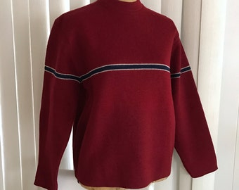 Vintage Thunderbird Columbia Knit Wool Pullover in Wine -- Size S