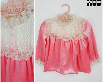 BABY SIZE - Cute Vintage 60s 70s Bubblegum Pink Velvet and White Lace Dress!