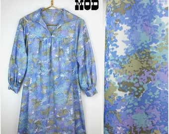 Vintage 70s Blue, Purple Abstract Pattern Comfy Hippie Dress