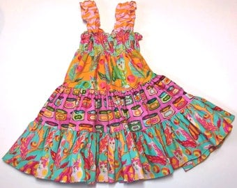 Pink and Orange Kitty Twirly Sundress