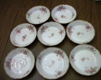 Antique GDA  Limoges France  8 berry  bowls pink roses  gold trim Shabby Chic