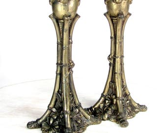 Antique BAMBOO FLORAL Candlestick Pair Art Nouveau Candle Holders Cast Metal Vtg