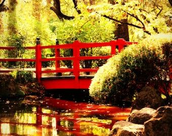 Japanese Garden Photograph, Zen Art, Nature Wall Decor, Red Bridge Photo, Peaceful Home Decor